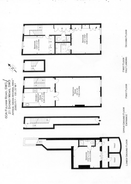 Floorplans For Sydney Mews, London